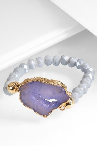 Gray and Purple Druzy Stone Stretch Bracelet