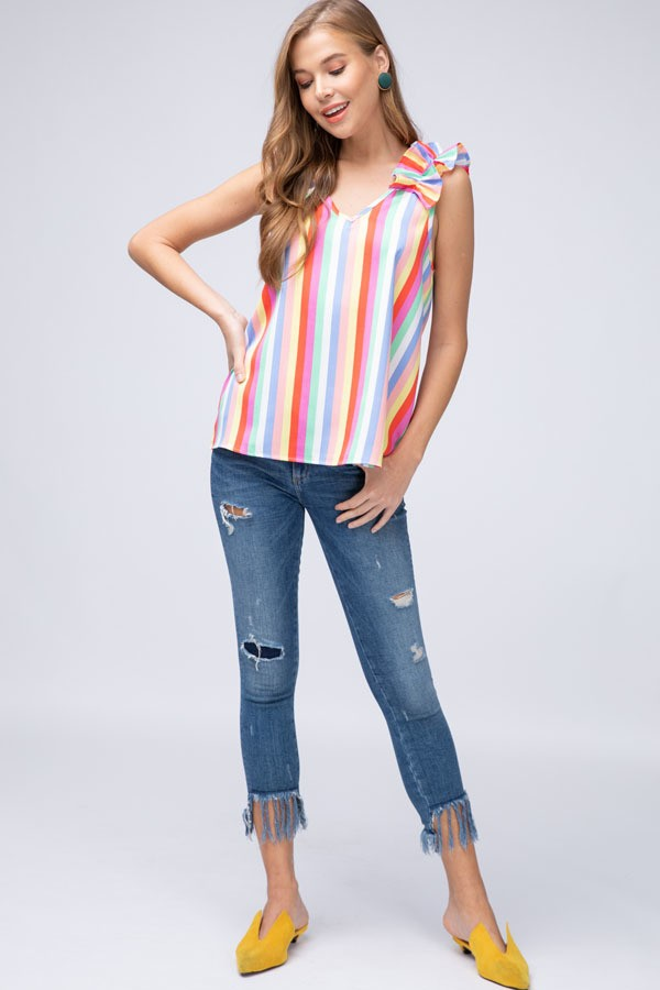 Striped Multi Top with Ruffle Accent