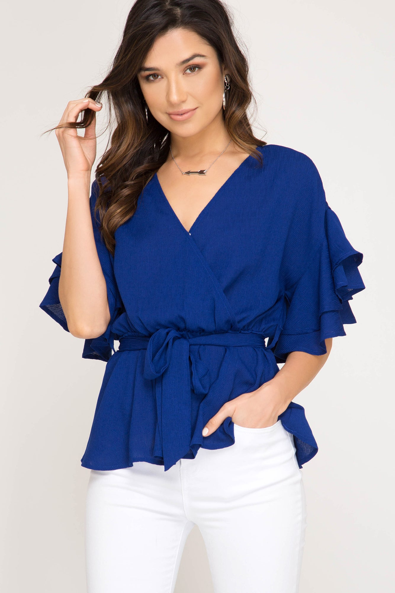 royal blue, she & sky, top, tie waist, ruffle sleeve, v neck, www.tooquteboutique.com, too qute boutique