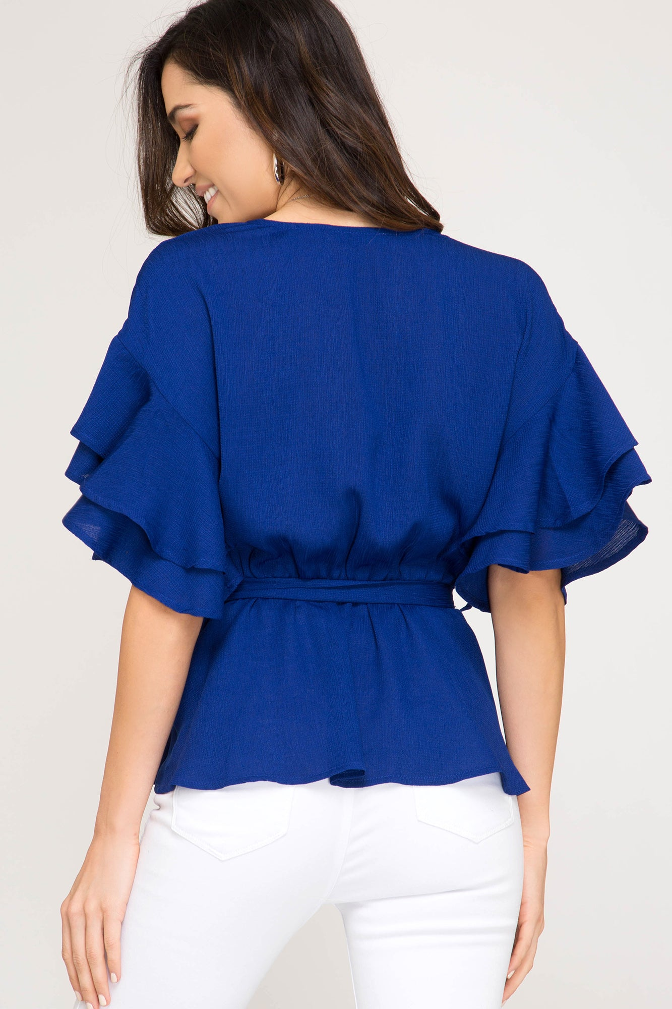 The Jana Top: Royal Blue Wrap with Tie Waist