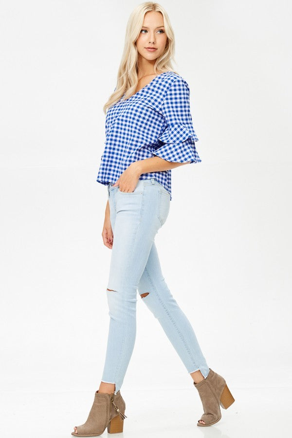 Royal Blue & White Gingham Top