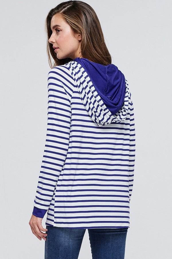 Royal Blue & Cream Striped Light Hoodie