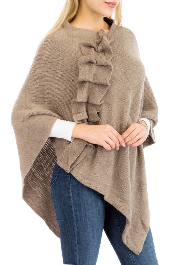 Ruffle Poncho: Blush Pink, Taupe or Black
