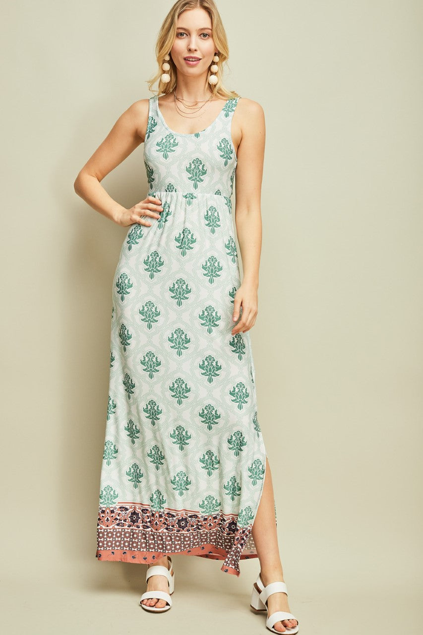 maxi dress, entro, white, sage, pattern, sleeveless, knit, soft, www.tooquteboutique.com, too qute boutique, small, medium, large, green, orange, navy blue
