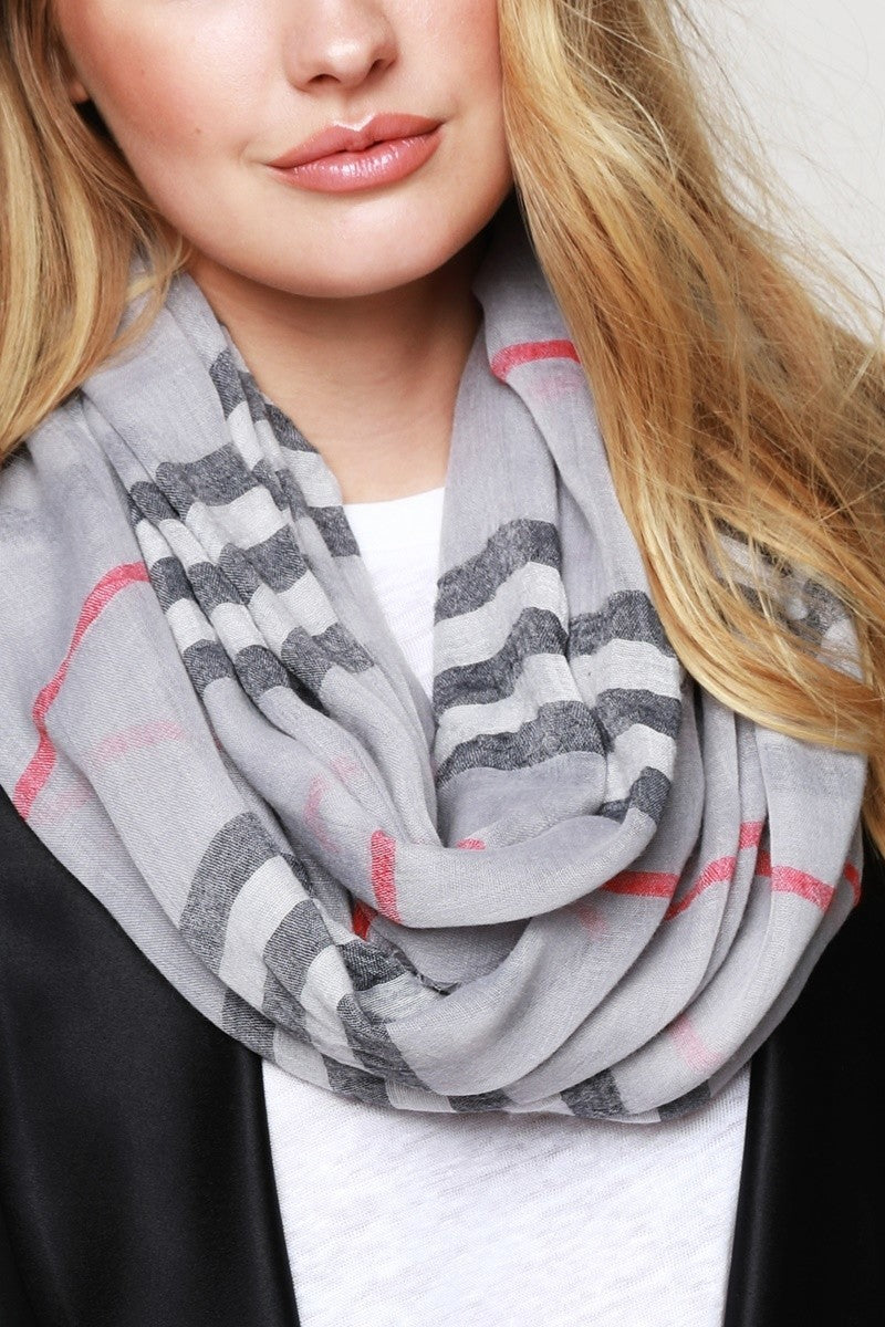 Gray Classic Plaid Infinity Lightweight Scarf