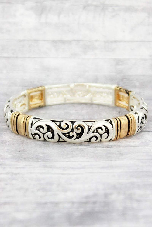 Two Tone Classic Scroll Bracelet