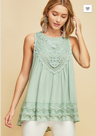 Curvy Seafoam Sweetie Sleeveless Top