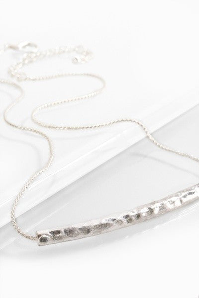 Hammered Silver Tone Bar Necklace SET