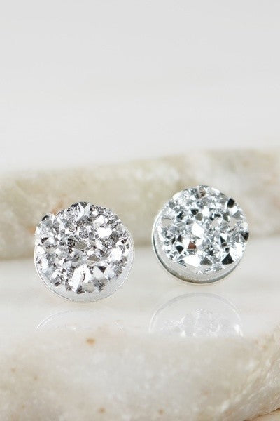 Silver Tone Druzy Earrings