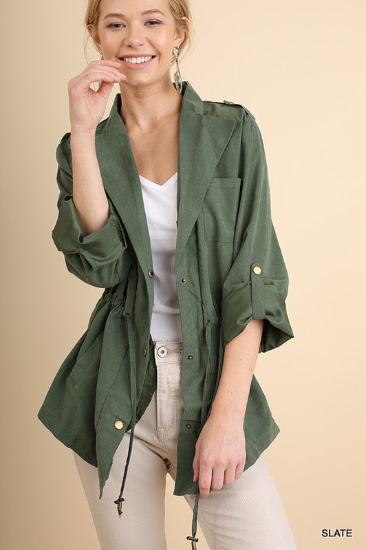 Brushed Slate Umgee Jacket with Drawstring Waist