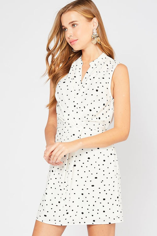 Spotted Cream & Black Skirted Romper
