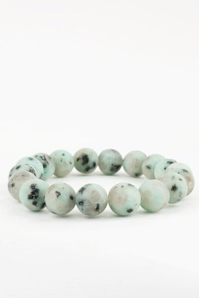 Kiwi: Pale Green & Black Semi Precious Stretch Bracelet