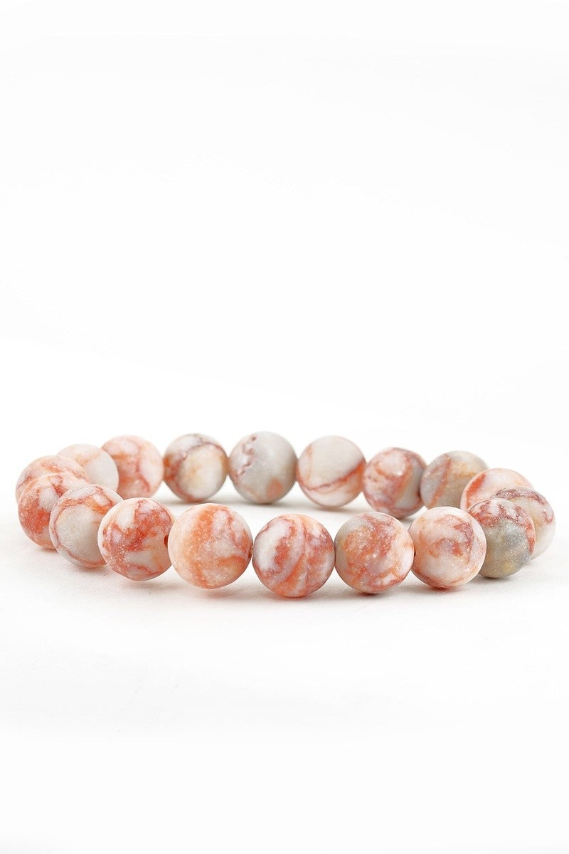 Red & White Picasso Semi Precious Stretch Bracelet