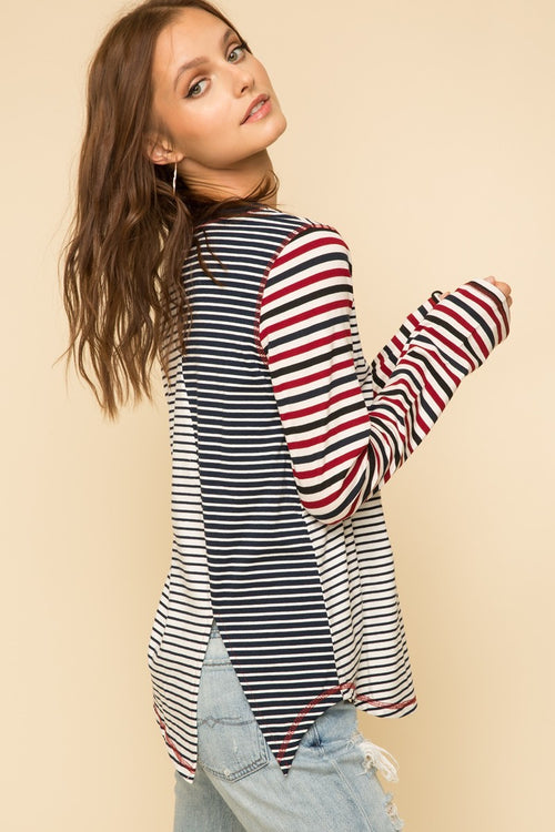 Mixed Stripe Split Back Top