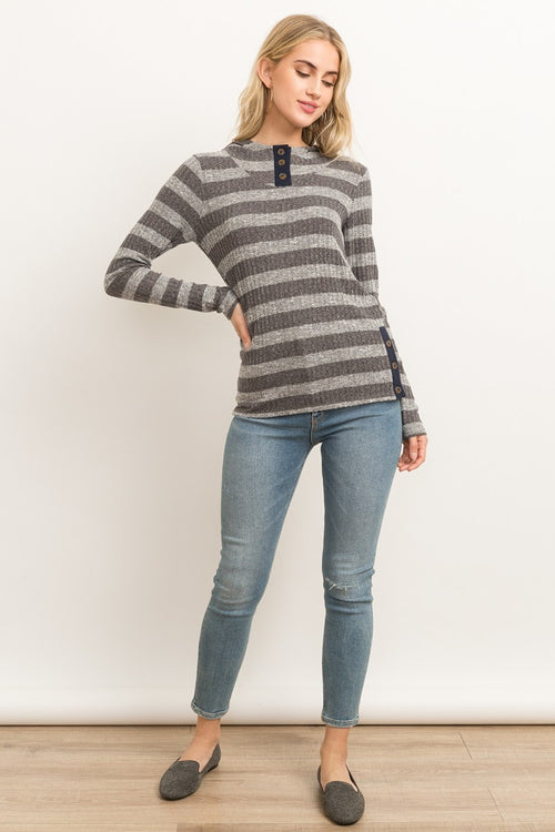 Striped Charcoal & Navy Ribbed Hoodie