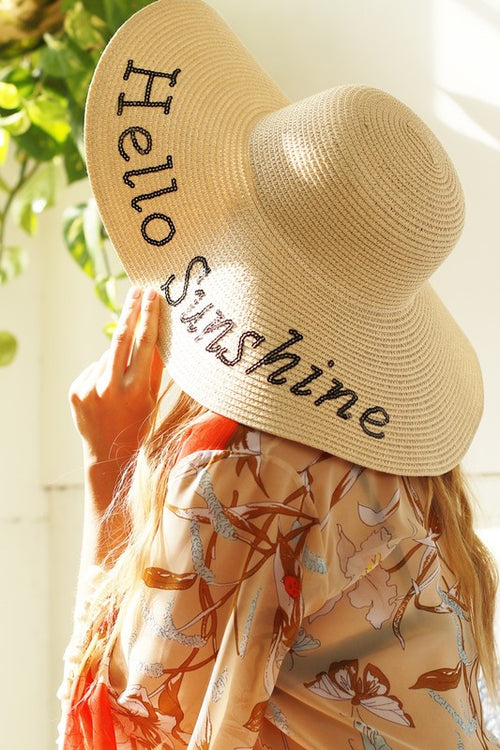 HELLO SUNSHINE Natural Straw Sun Hat