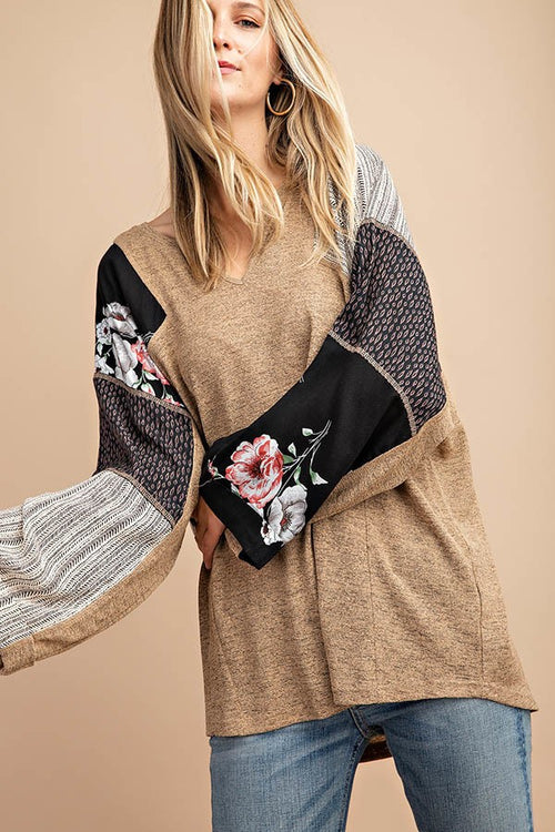 Black & Taupe Mixed Print Knit Top