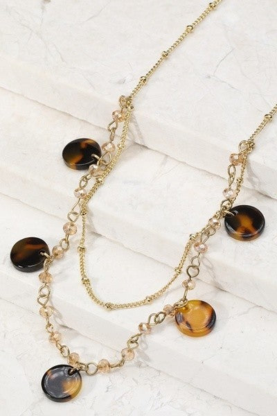 Tortoise Shell Disc Necklace