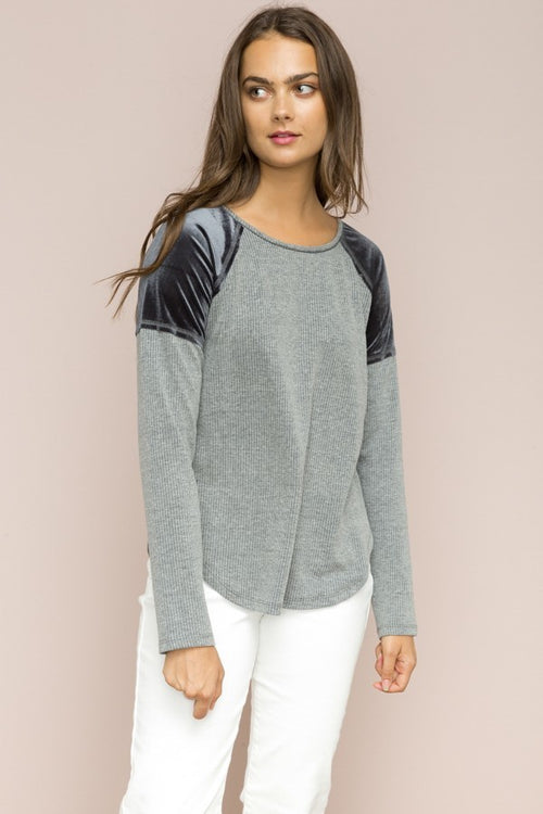 Velvet Inset Gray Top