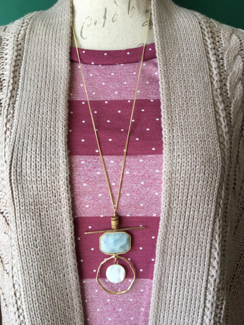 Jadeite & Wood Pendant Necklace