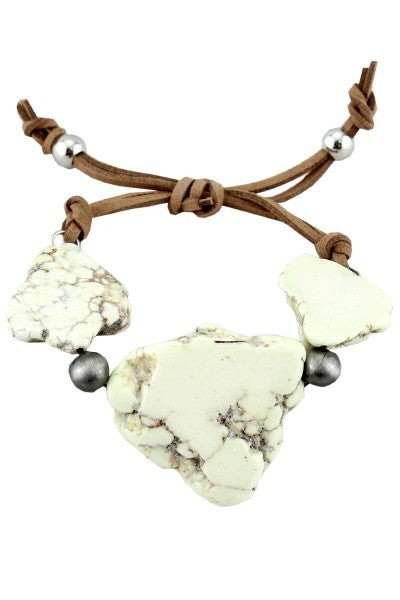 White & Charcoal Marbled Stone Bracelet