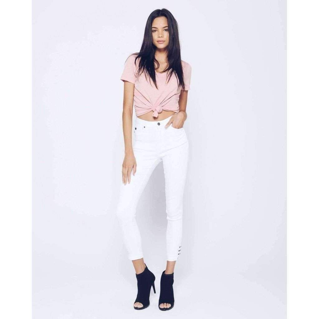 KanCan White Ankle Length Jeans with Ankle Details