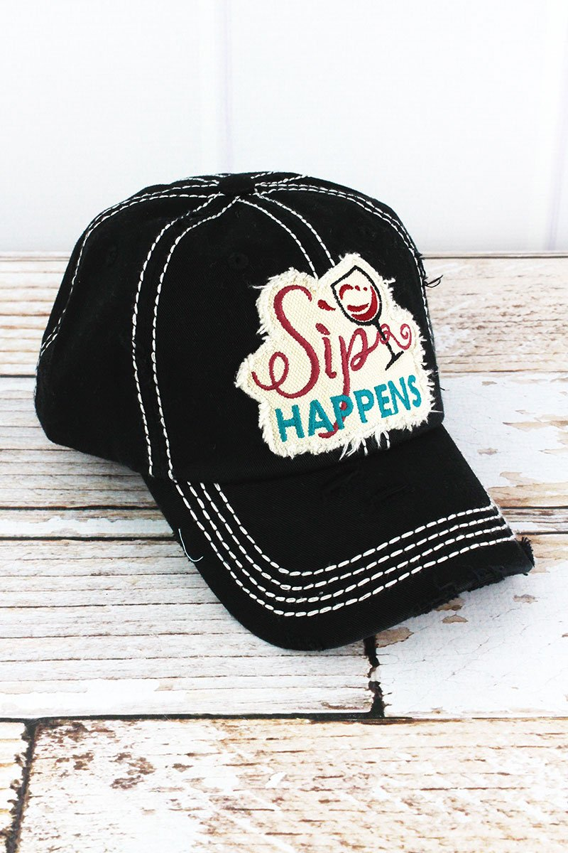 "Wine ""Sip Happens"" Black Cap"