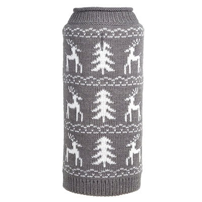 The Worthy Dog: Woodlands Reindeer Gray Sweater