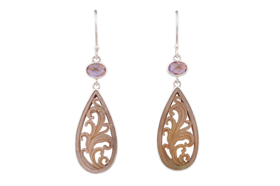 Floral Relief Pear Drop Earrings