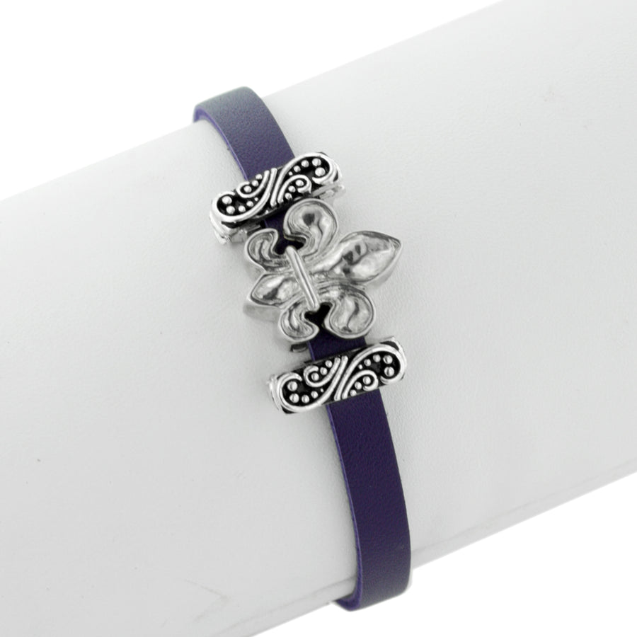 The French Quarter Leather Slide Charm Bracelet by Lori Bonn (413980)