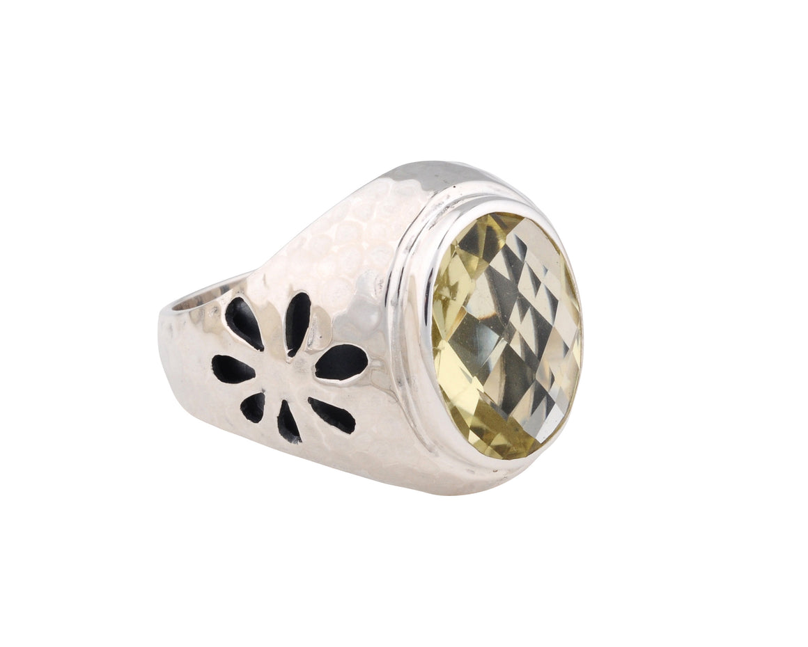 Bloom Flower Power Lemon Quartz Cocktail Ring