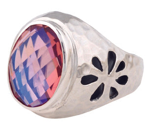 Bloom Flower Power Rainbow Blush Quartz Cocktail Ring