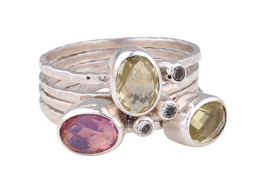 Bloom Multi Stone Stacking Ring Set