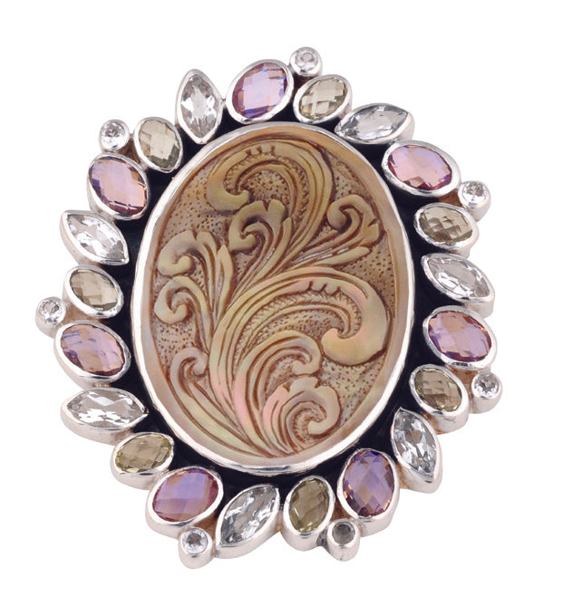 Bloom Gemstone Framed Oval Pin/Pendant