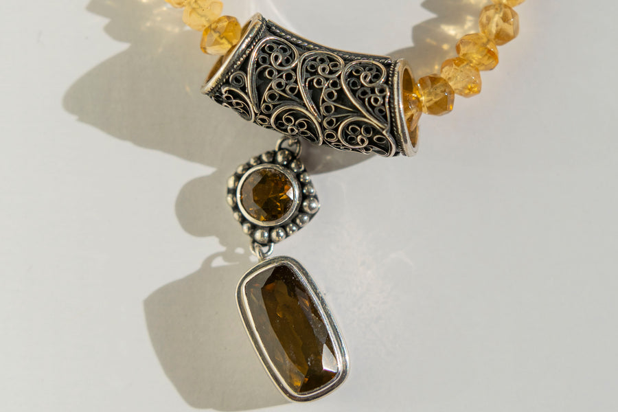 "Casbah Citrine & Whiskey Citrine drop pendant on 16-18"" Citrine beads"
