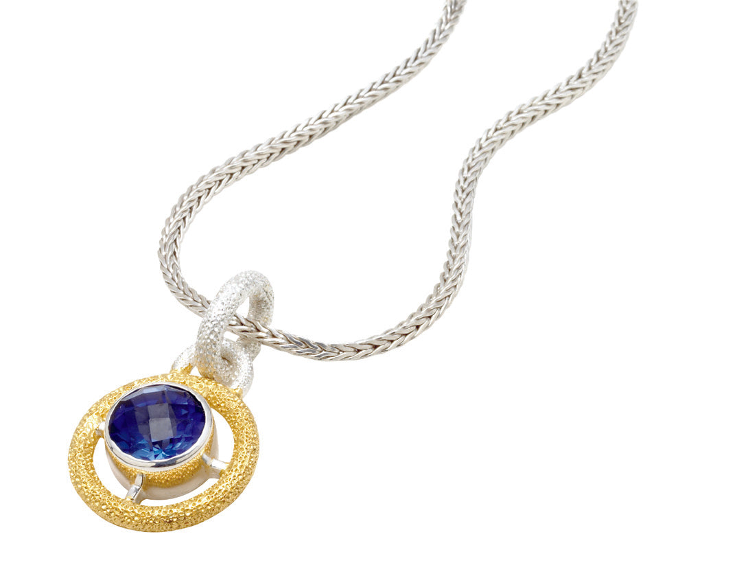 From the Vault Mixed Metal Blue Sapphire Pendant Necklace