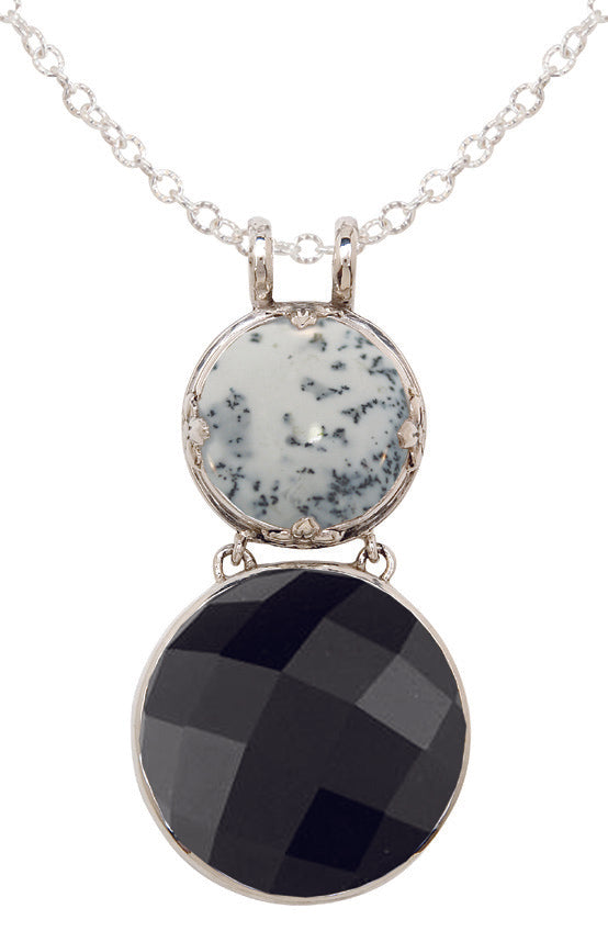 From the Vault Double Drop Black Onyx & White Dendritic Agate Pendant Necklace