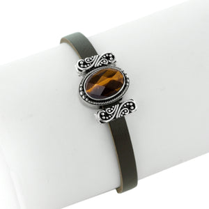 The All Eyes on Me Leather Slide Charm Bracelet
