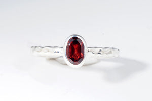 January Garnet stackable ring