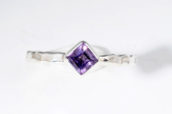 February Amethyst stackable ring