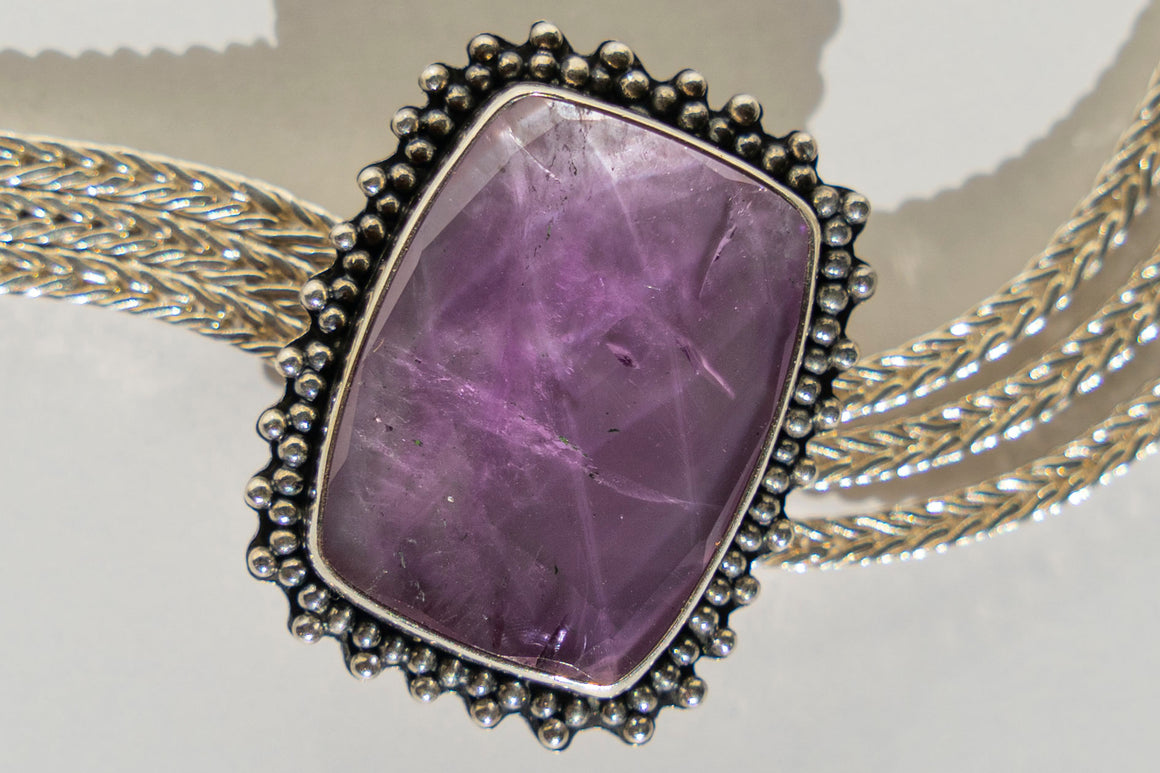 Limited Edition Sterling Silver Slide Charm with Amethyst Quartz Doublet