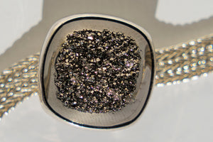 Limited Edition Sterling Silver Slide Charm with Cushion Black Diamond Window Drusy