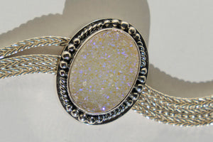Limited Edition Sterling Silver Slide Charm with Oval Pearl Shimmer Drusy