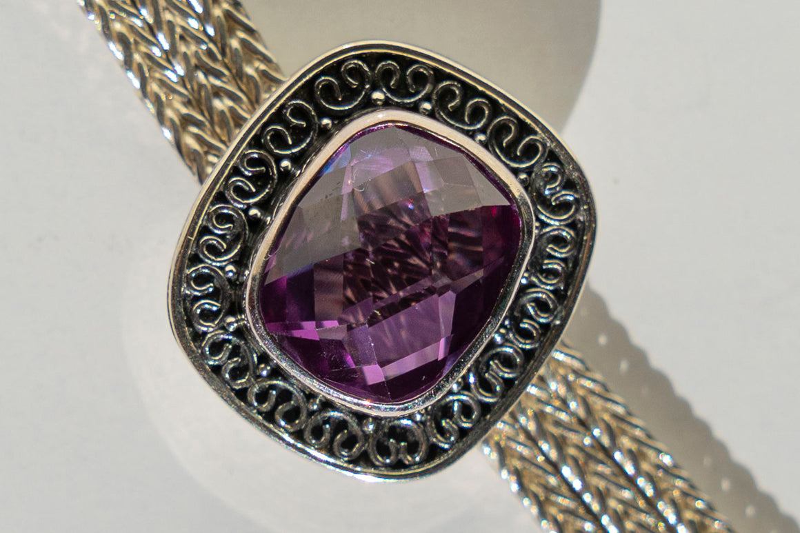 Limited Edition Sterling Silver Slide Charm with Cushion Rectangle Alexandrite