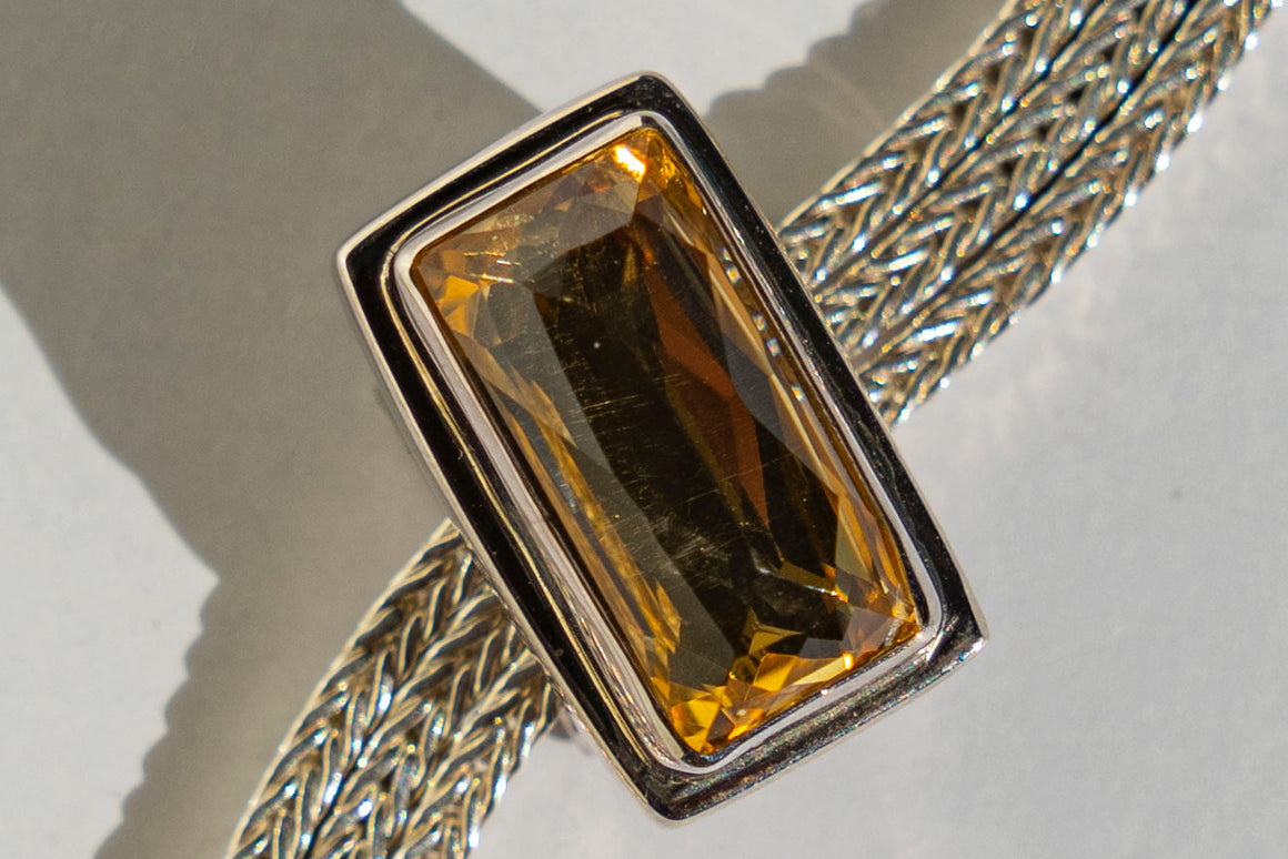 Limited Edition Sterling Silver Slide Charm with Rectangle Gold Quartz Doublet