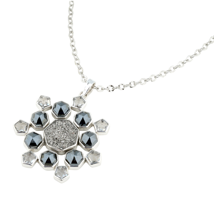 "Metropolis Multi-Stone Star Pendant on 18"" Oval Link Chain"