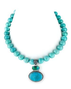 moxie double drop turquoise bead necklace from Lori Bonn Collections by Lori Bonn (512307CTB)