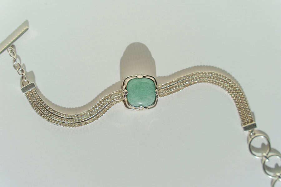 Limited Edition Sterling Silver Slide Charm with Cushion Amazonite