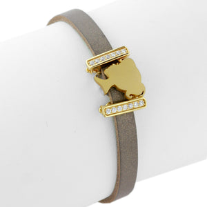 The Golden Girl Leather Slide Charm Bracelet by Lori Bonn (413989)