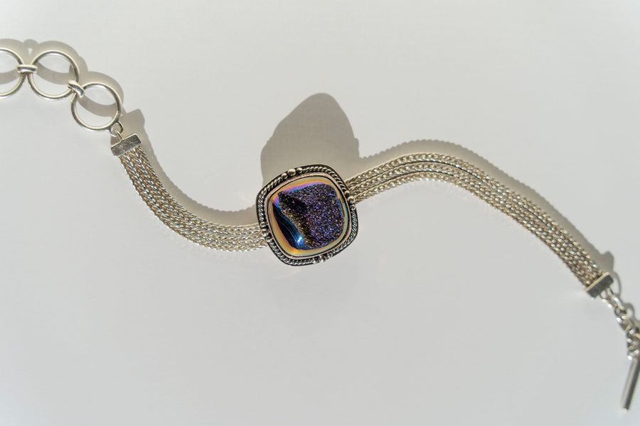 Limited Edition Sterling Silver Slide Charm with Cushion Blue Window Drusy